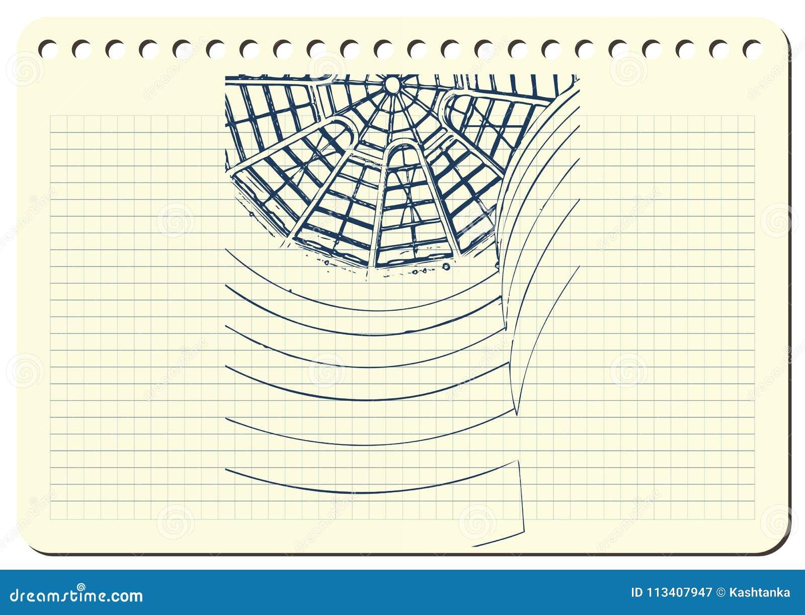 Graficzna ilustracja z dekoracyjną architekturą 1