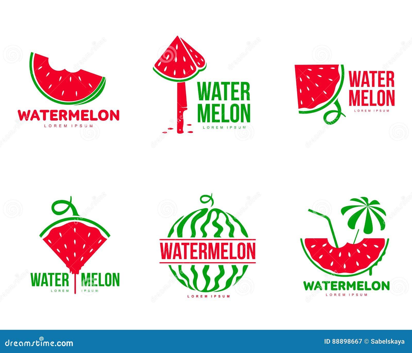 Graficzni czerwieni i zieleni arbuza loga szablony, lato sezon, owocowa firma