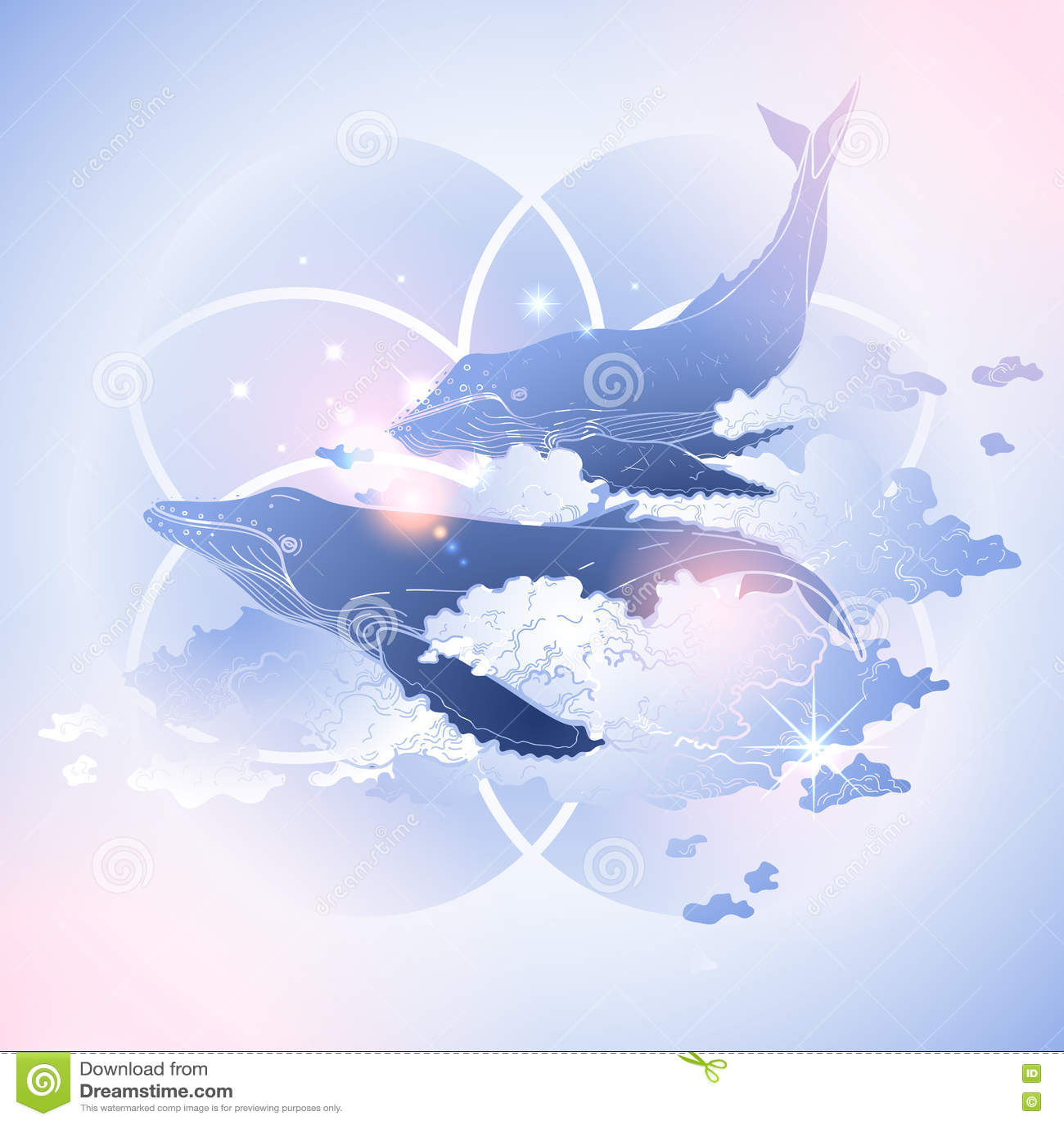 Graficzni wieloryby lata w niebie