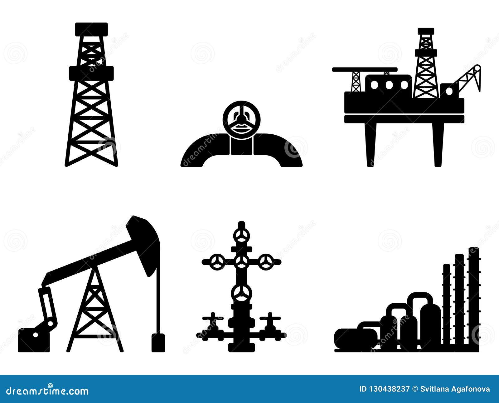 Graficzny czarny płaski ustawiający ropa i gaz wektorowe ikony dla rop naftowych