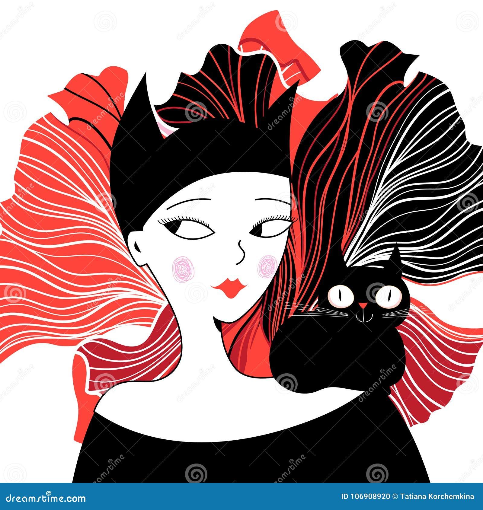 Graficzny portret kot dziewczyna