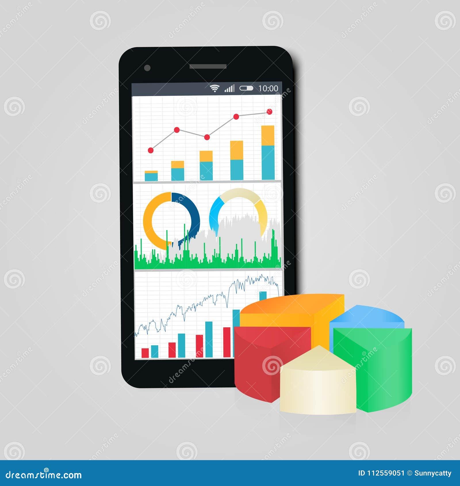 Grafiek en diagrammen Mobiele telefoon Concept zaken, financiën, rekenschap gevende statistiek
