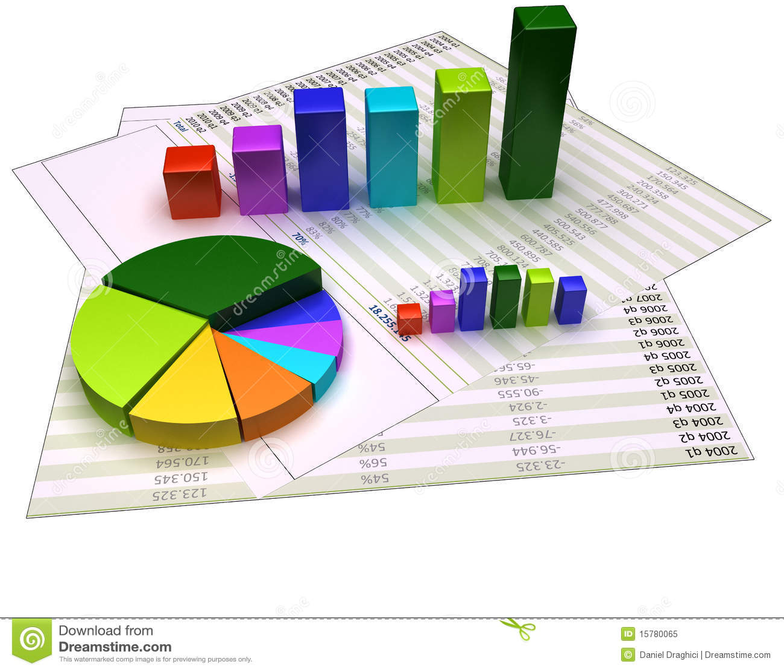 Grafiek op financiële dossiers en geïsoleerd op wit