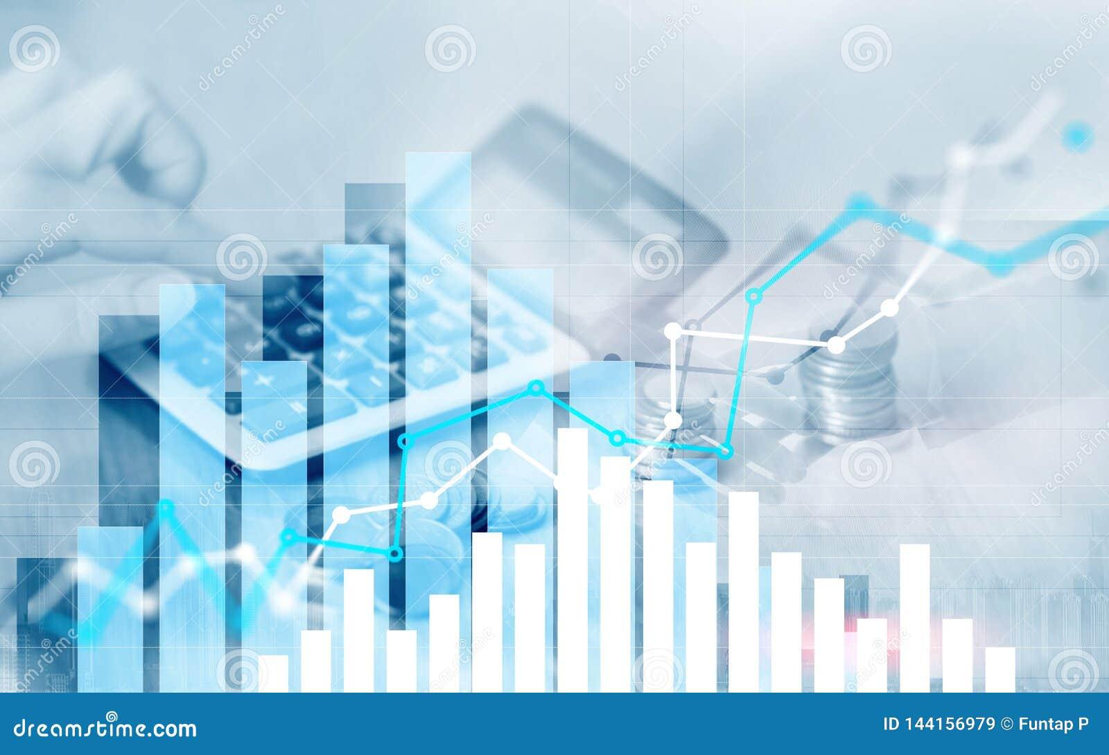 Grafiek op rijen van muntstukken voor bankwezen, financiën op digitale effectenbeurs financiële uitwisseling en handelgrafiek