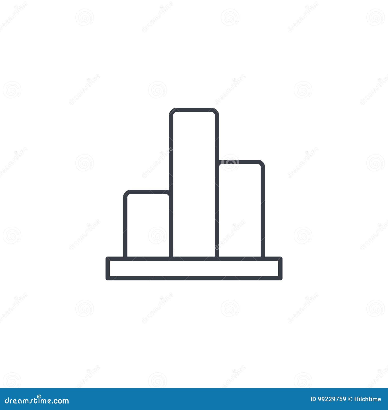 Grafiekgrafiek, dun de lijnpictogram van het statistiekdiagram Lineair vectorsymbool