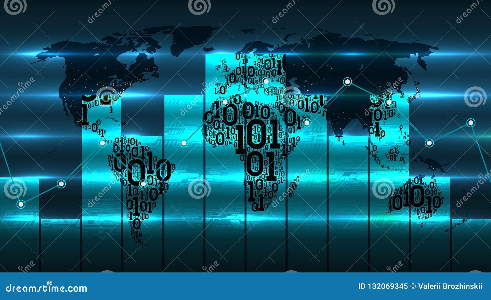 Grafiekgrafiek van ontwikkeling van digitale globale technologieën van tegen achtergrond van wereldkaart De kaart van de binaire