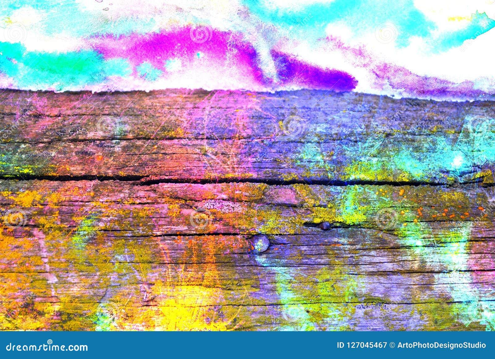 Grafik der gemischten Medien, bunte künstlerische gemalte Schicht der Zusammenfassung im Rosa, blaue, grüne Farbpalette auf hölze
