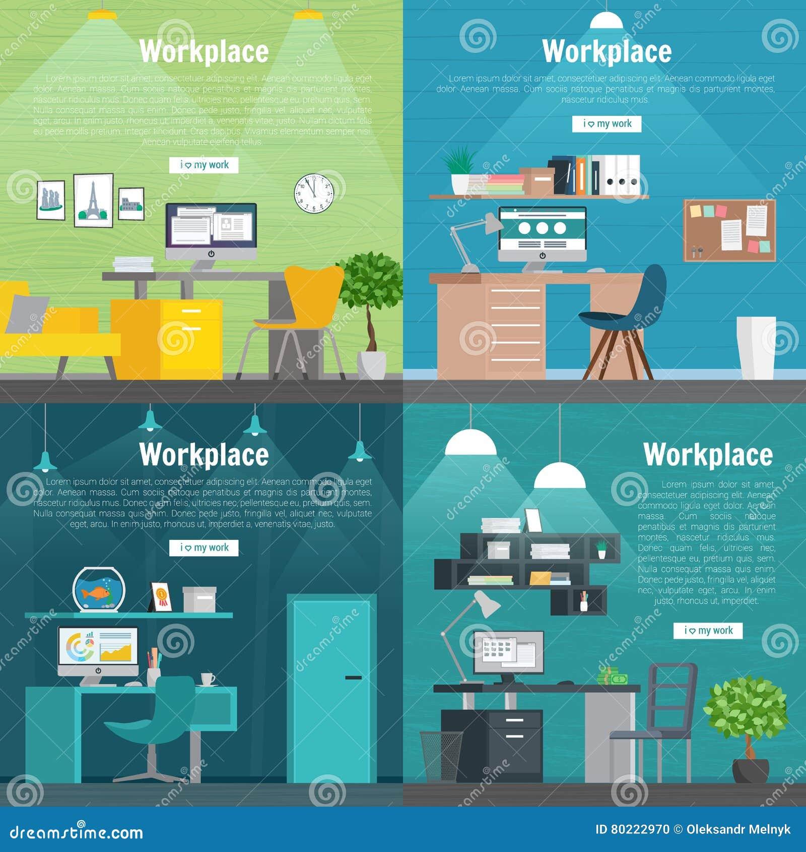 Grafik Innenarchitektur Des Fahnen-gesetzte Büroarbeitsplatzes ...