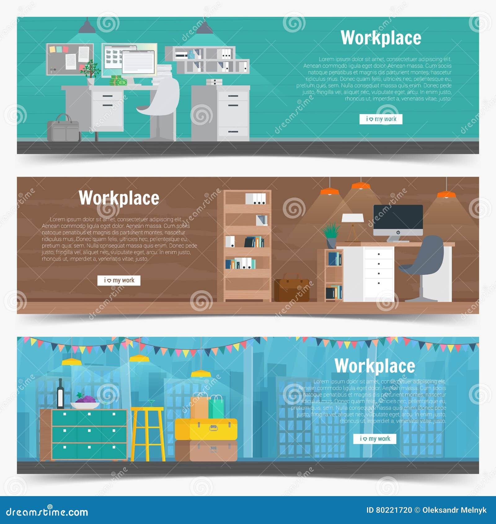 Grafik Innenarchitektur Des Netz-Fahnen-gesetzte Büroarbeitsplatzes ...