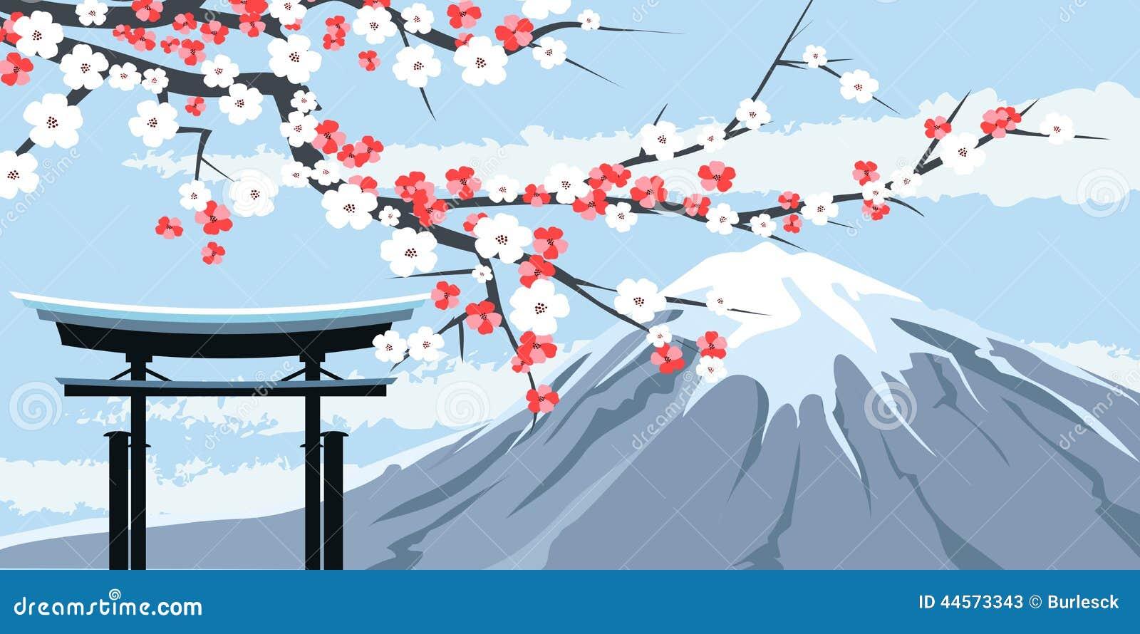 Grafika góra Fuji z Czereśniowymi okwitnięciami