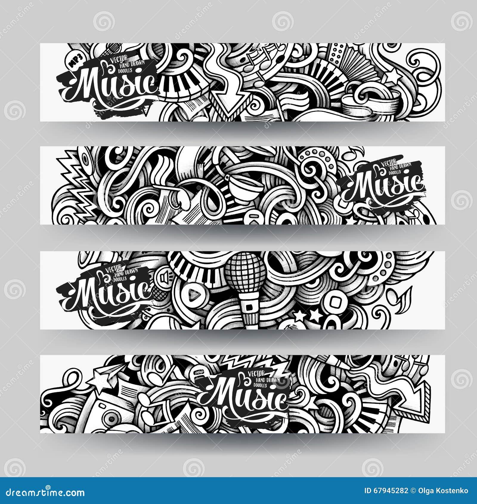 Grafika szkicowego śladu Doodle wektorowa ręka rysujący Muzyczni sztandary
