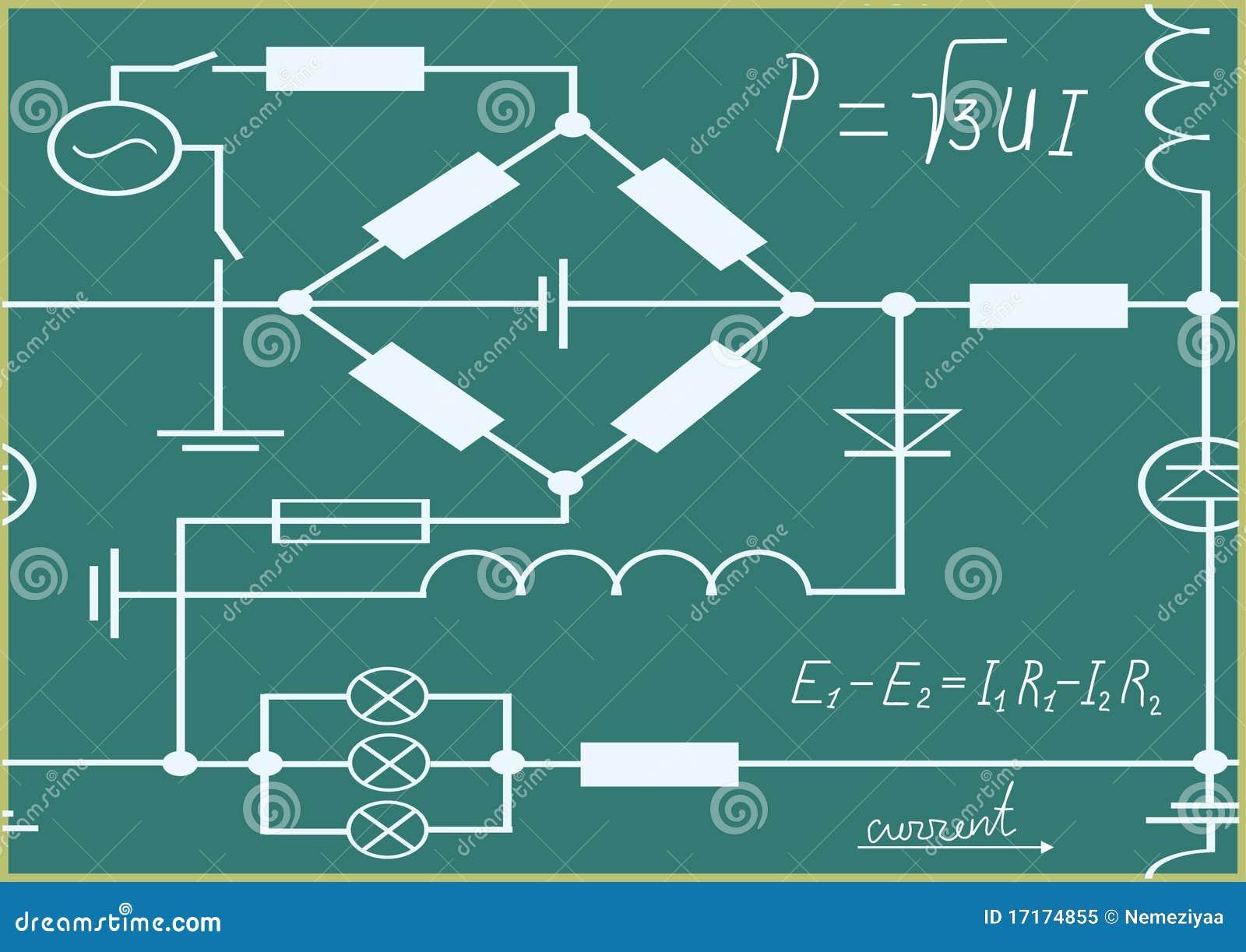 Grafiken, Diagramm Und Formeln Von Elektrizität. Vektor Abbildung ...