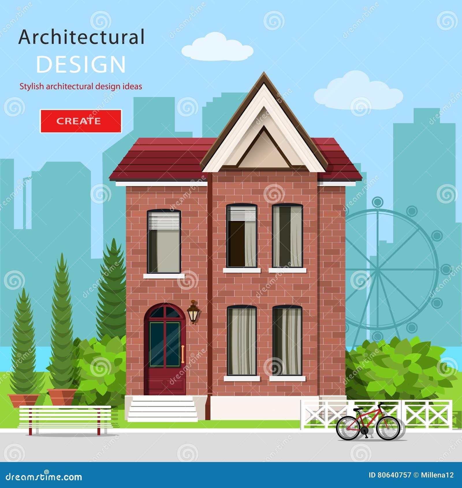 Grafisch eigentijds luxehuis met groene werf en stadsachtergrond Europese moderne architectuur Vector illustratie