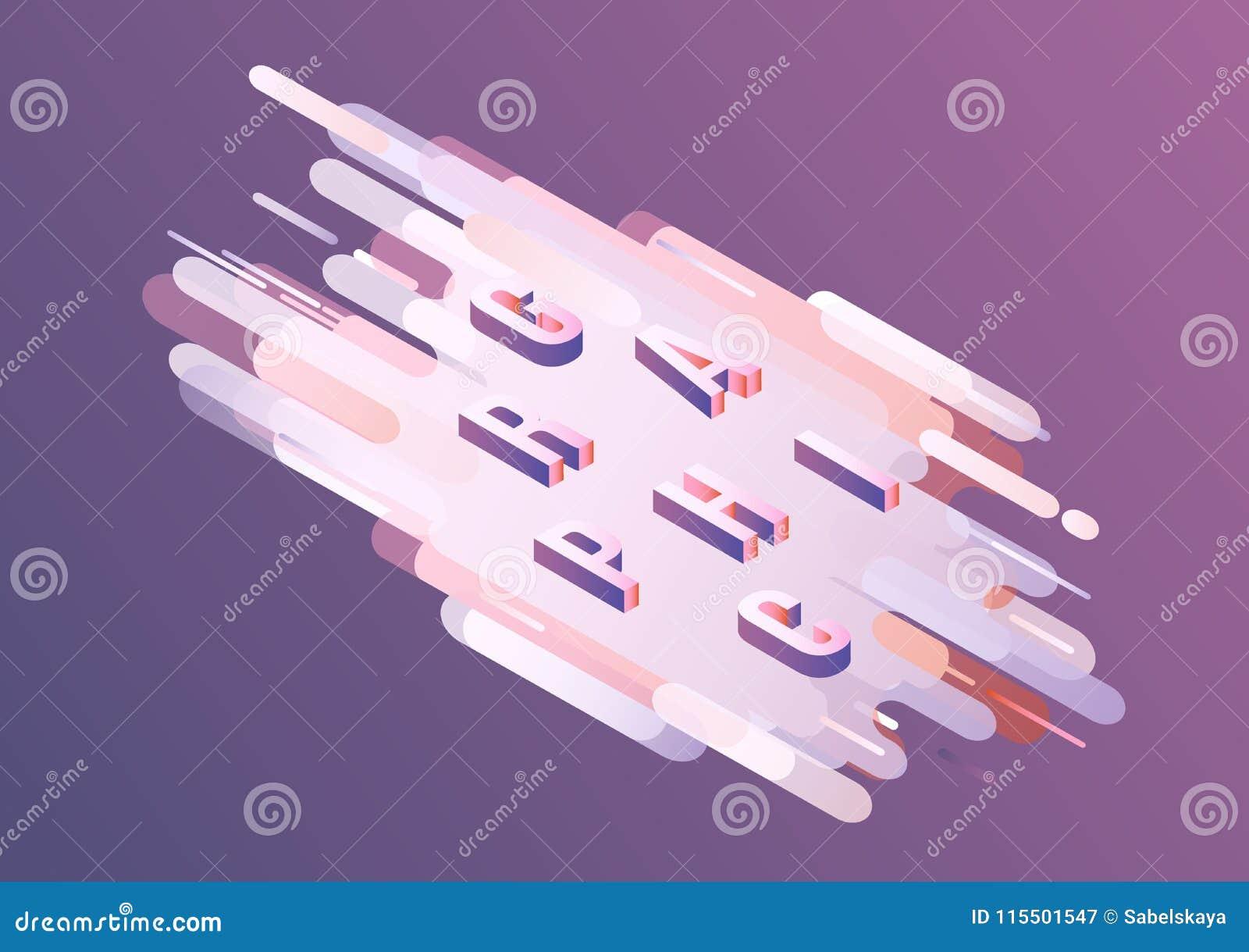 Grafisch woord isometrisch ontwerp - volumetrische brieven op violette gradiënt abstracte achtergrond