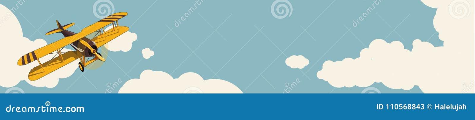 Grafische achtergrond Geel vliegtuig die over hemel met wolken in uitstekende kleurenstylization vliegen De horizontale lay-out v