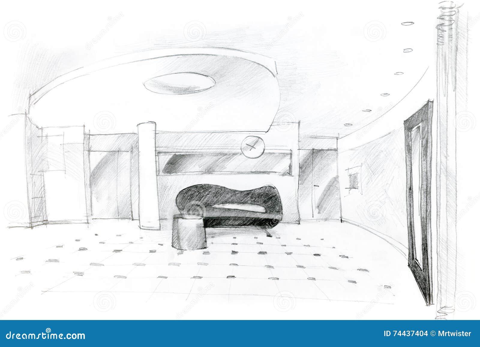 Grafische bleistiftskizze der innenarchitektur der halle for Halle innenarchitektur