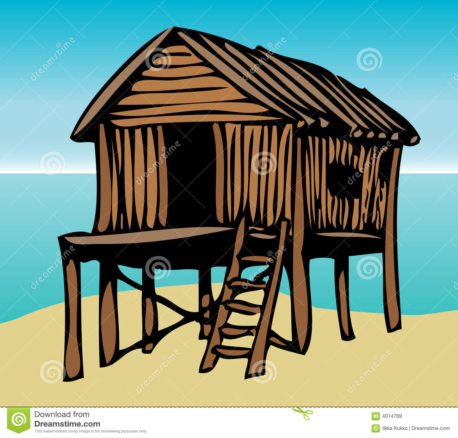 Grafische het huis van het strand