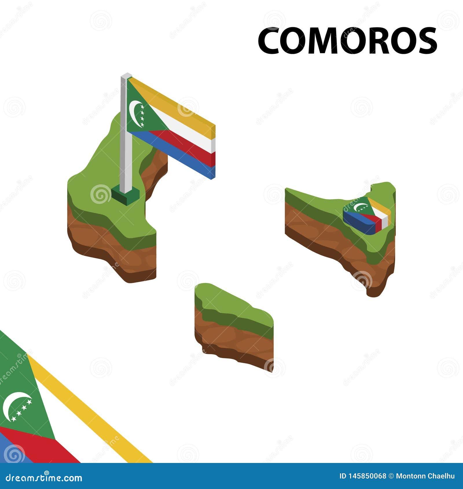 Grafische isometrische Karte der Informationen und Flagge von KOMOREN isometrische Illustration des Vektors 3d