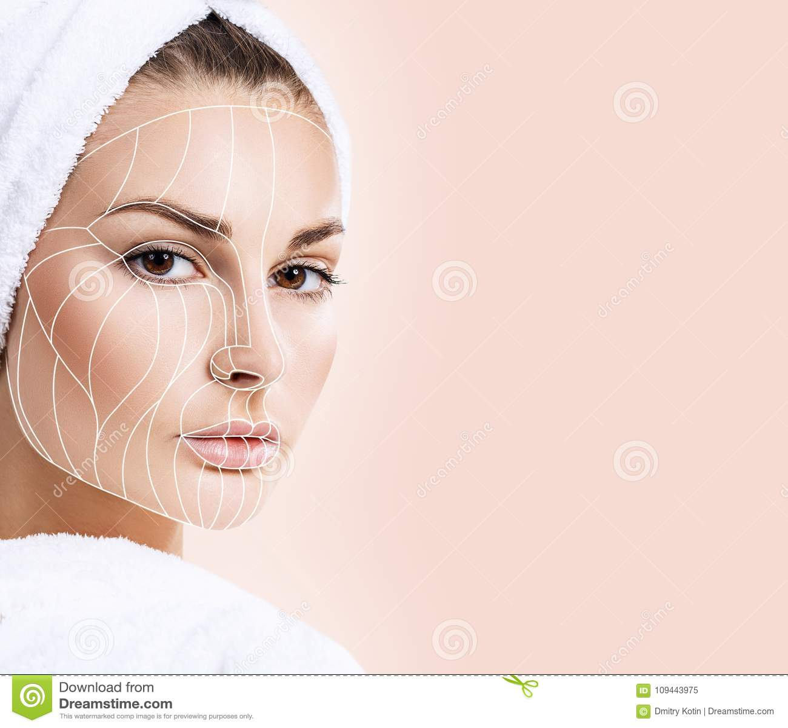 Grafische lijnen die gezichts het opheffen effect op huid tonen