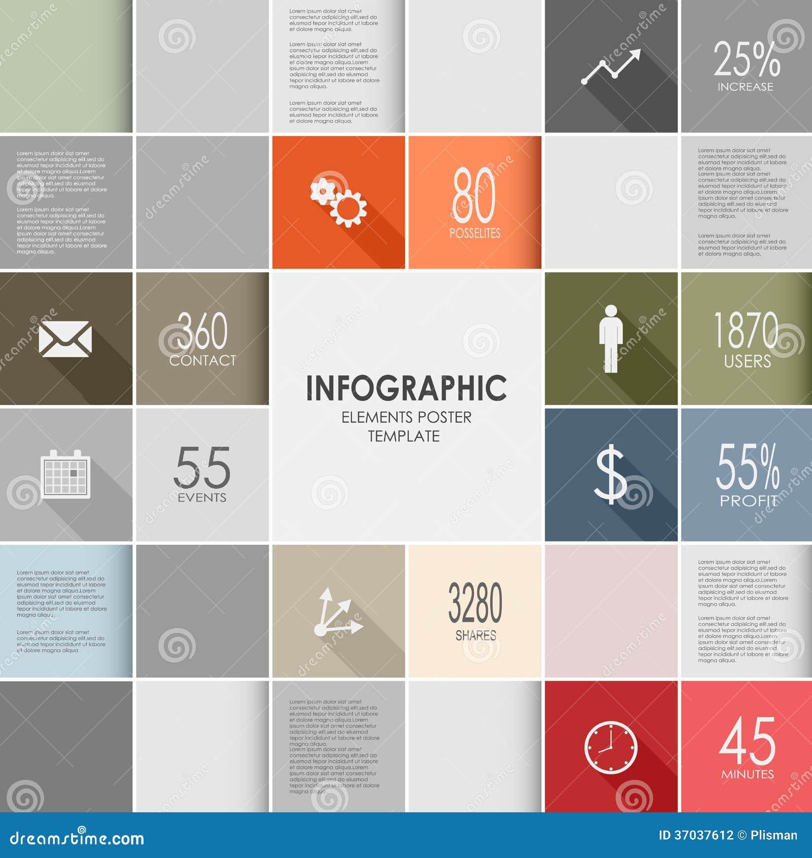 Grafische malplaatje van de vierkanten het kleurrijke informatie
