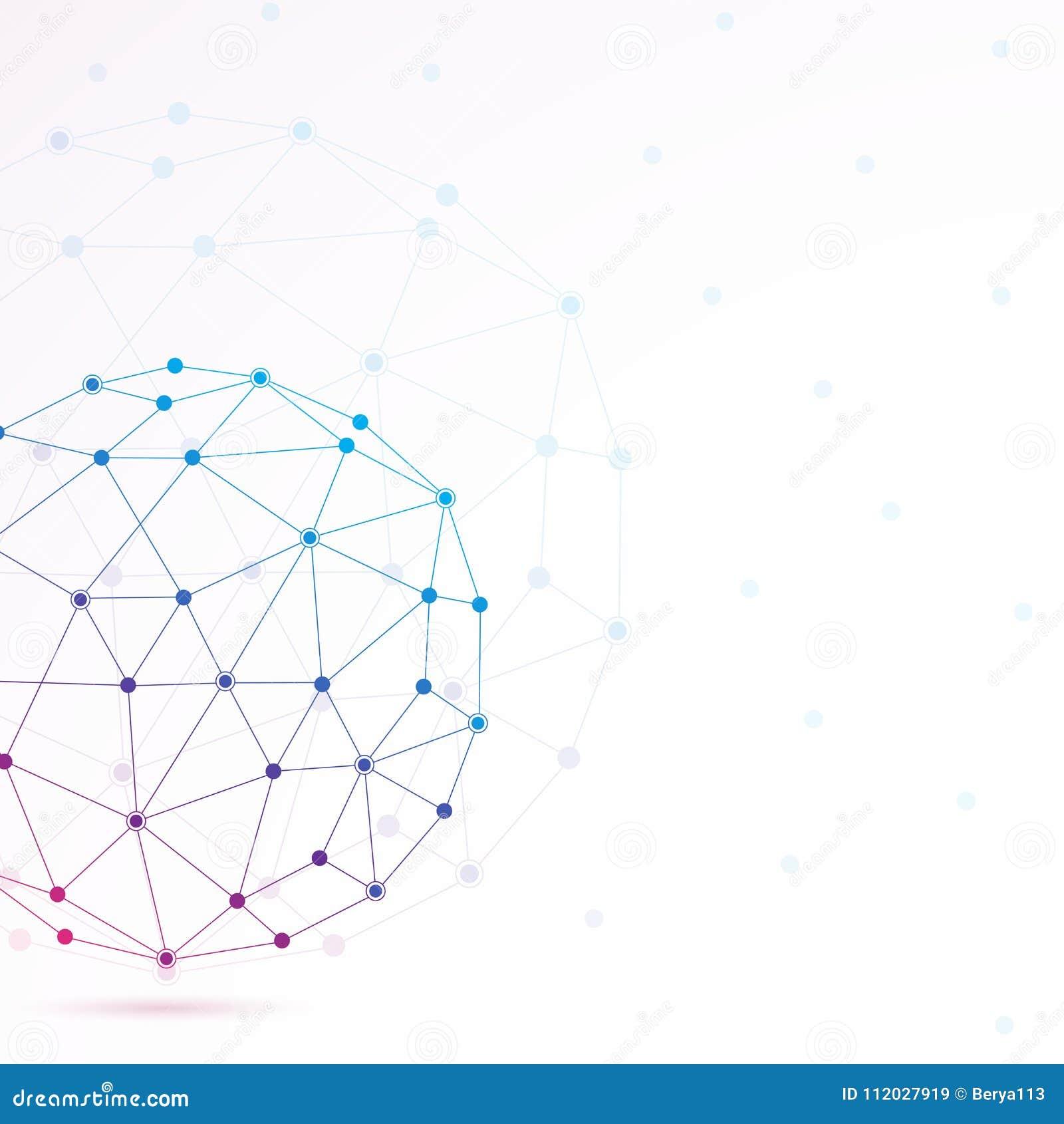 Grafische Molecule En Mededeling Als Achtergrond Kleurrijke