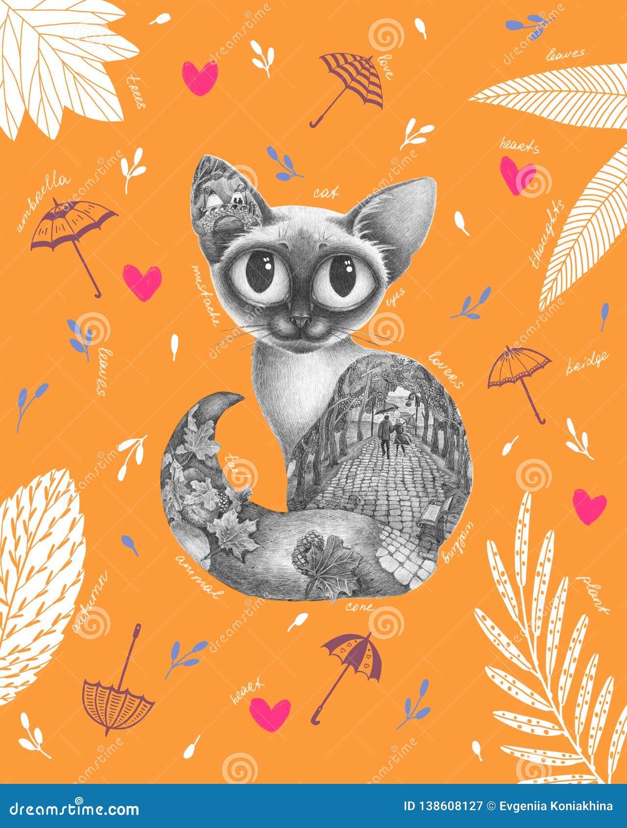 Grafische mooie kat met binnen de herfst