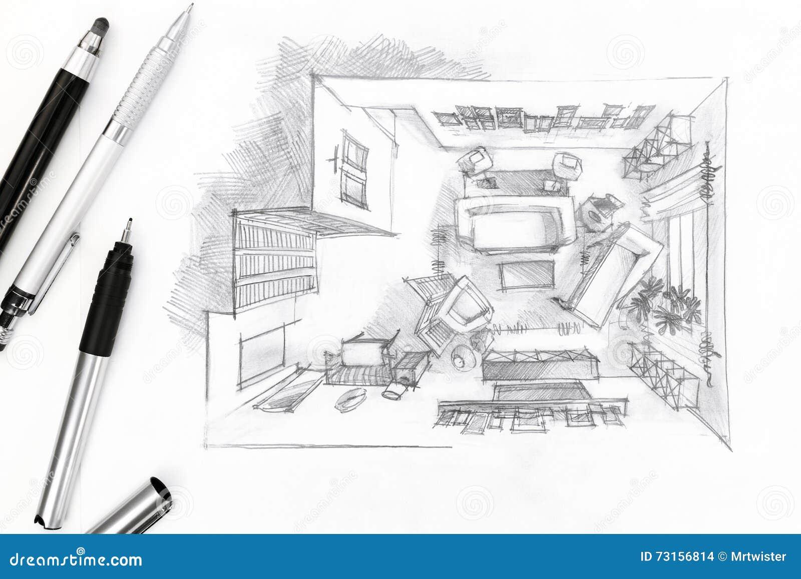 Grafische schets van een binnenlandse woonkamer met pen en potloden