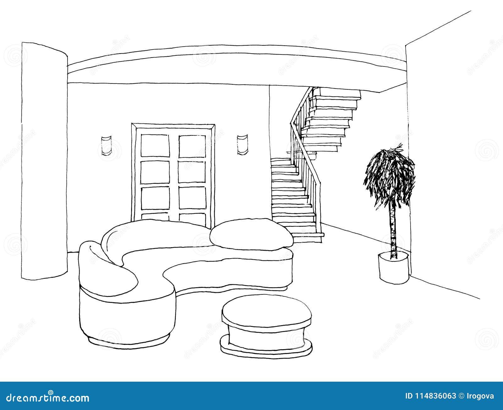 Grafische Schets, Woonkamer Stock Illustratie - Illustratie ...
