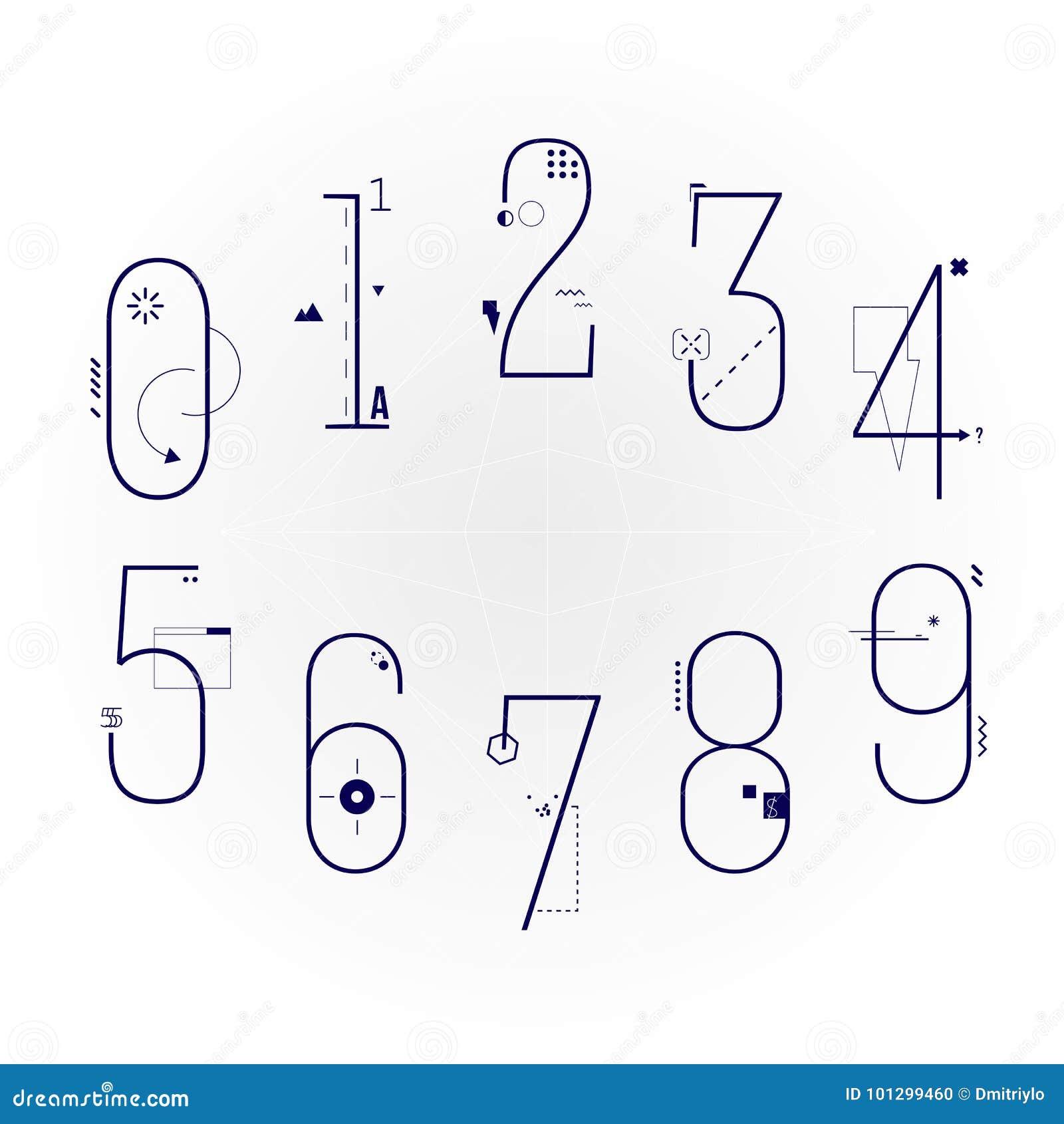 Grafische Vlakke Lijn Art Style Numbers Set Geometrische Objecten Cijferlettersoort