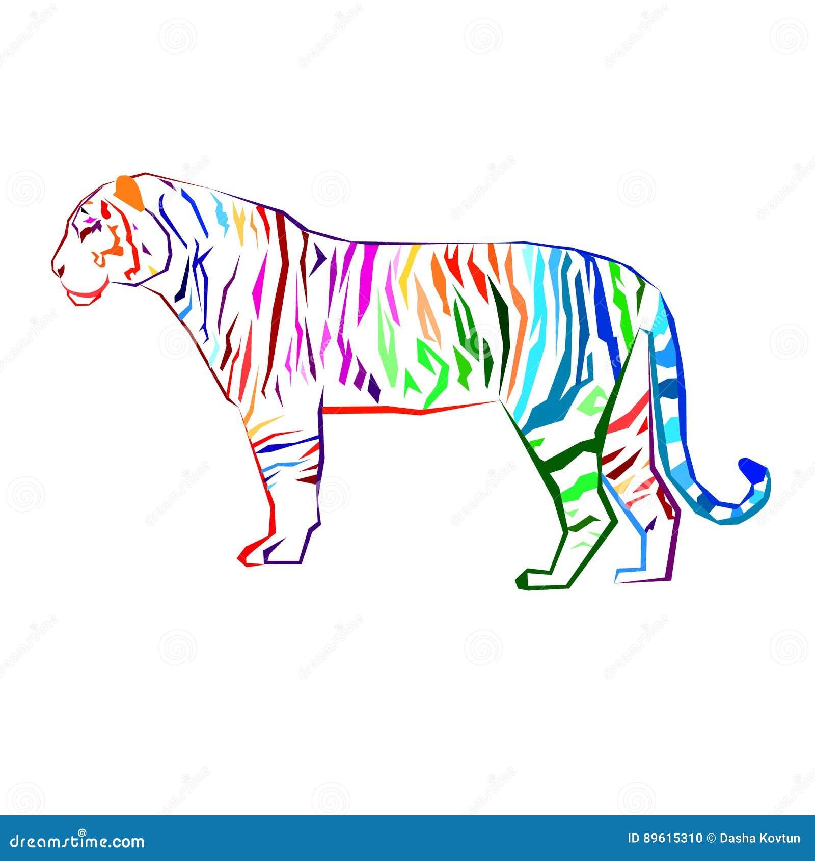 Grafische wild van het de sterktezoogdier van de tijger het wilde illustratie