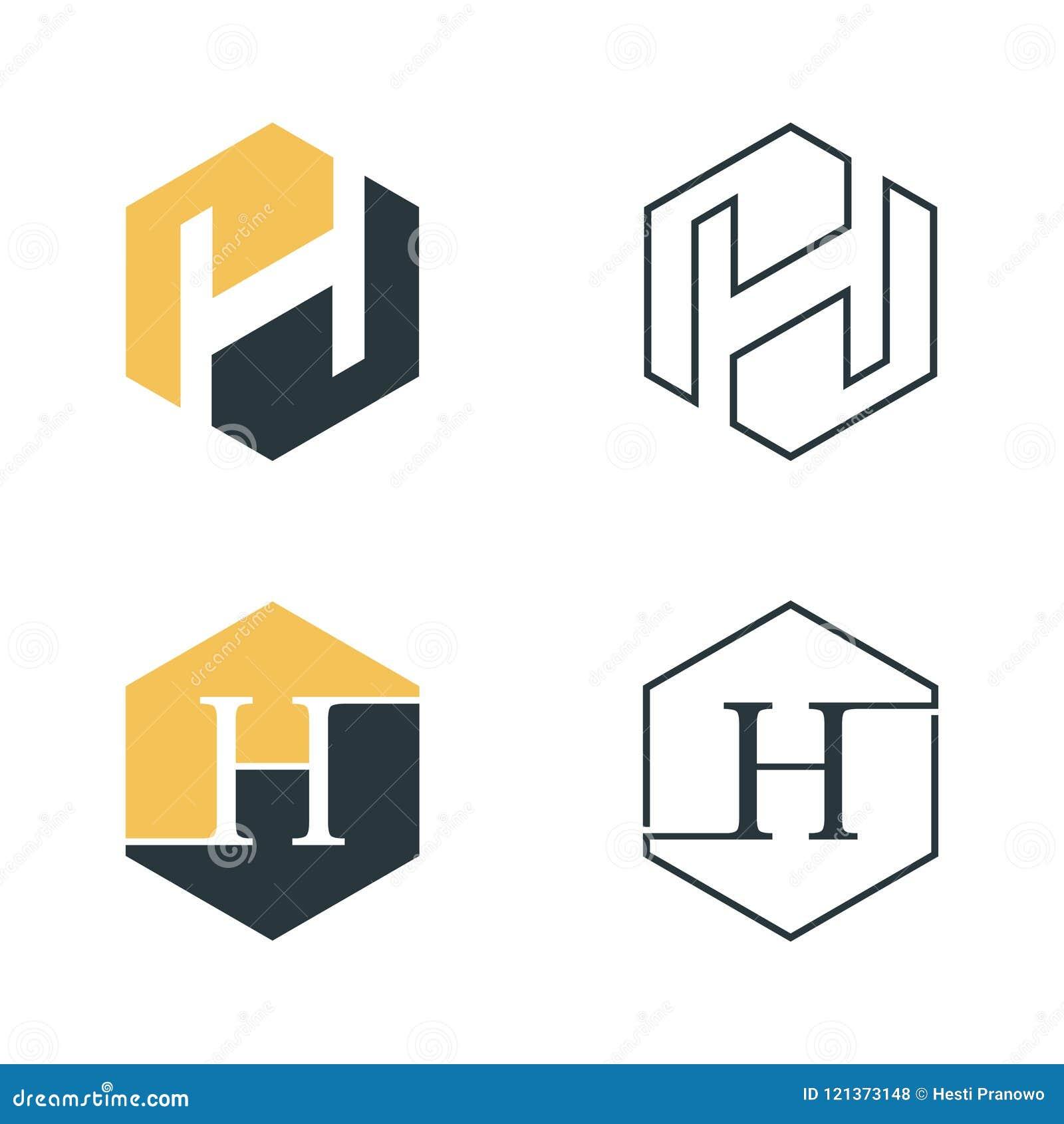 Grafischer Vektor des Hexagonbuchstaben H für Netzikone oder Smartphone-APP