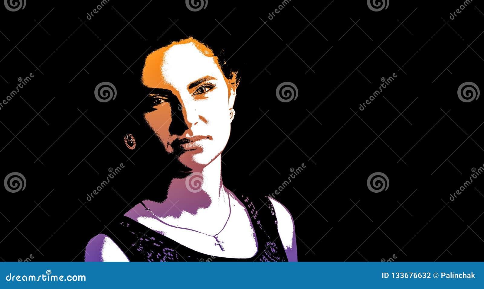 Grafisches Porträt einer jungen Schönheit