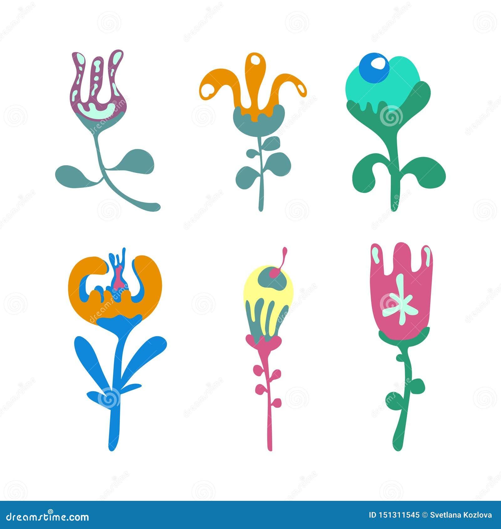 Grafisk design f?r blomma Vektorupps?ttningen av blom- best?ndsdelar med den drog handen blommar