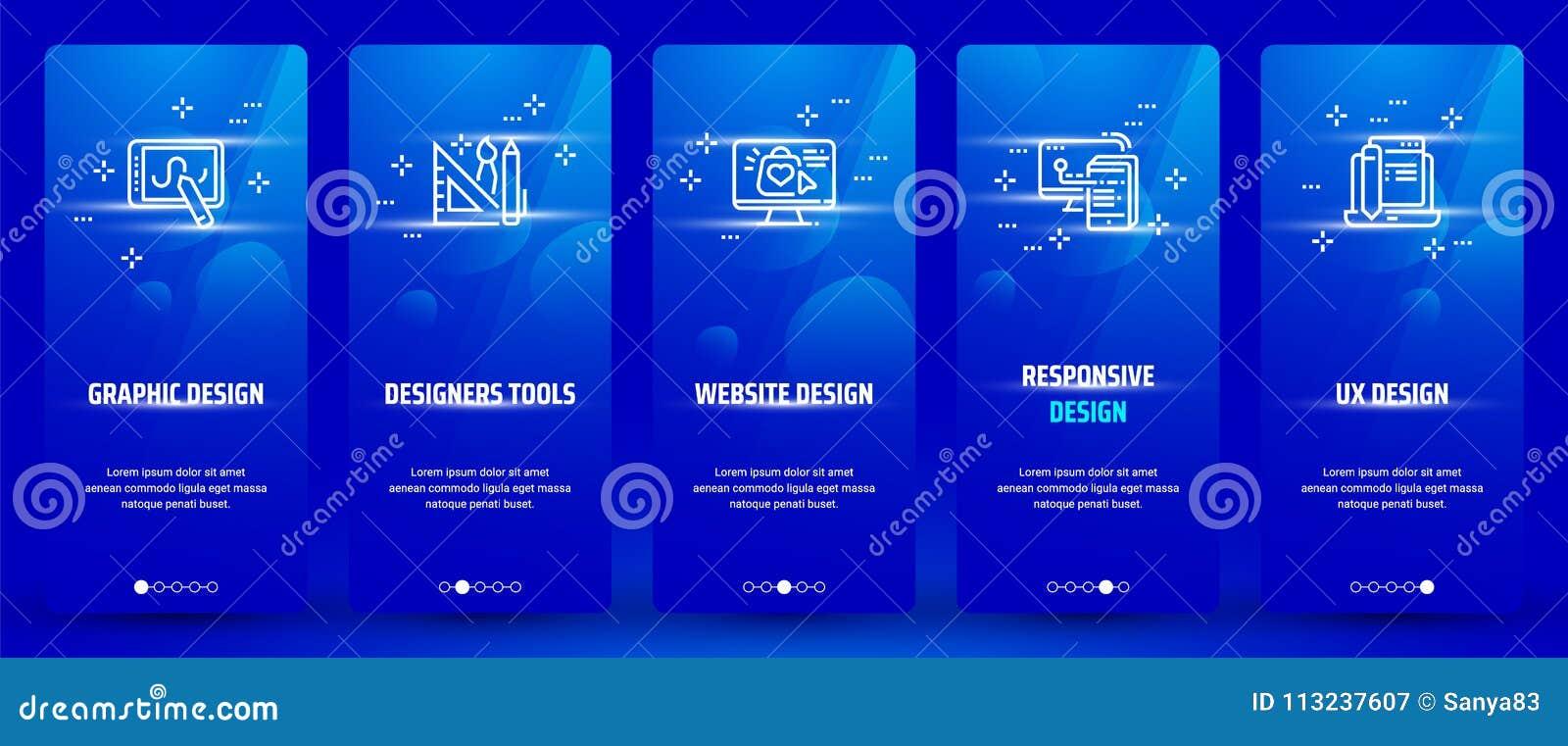 Grafisk design, formgivarehjälpmedel, Websitedesign, svars- design, vertikala kort för UX design med starka metaforer