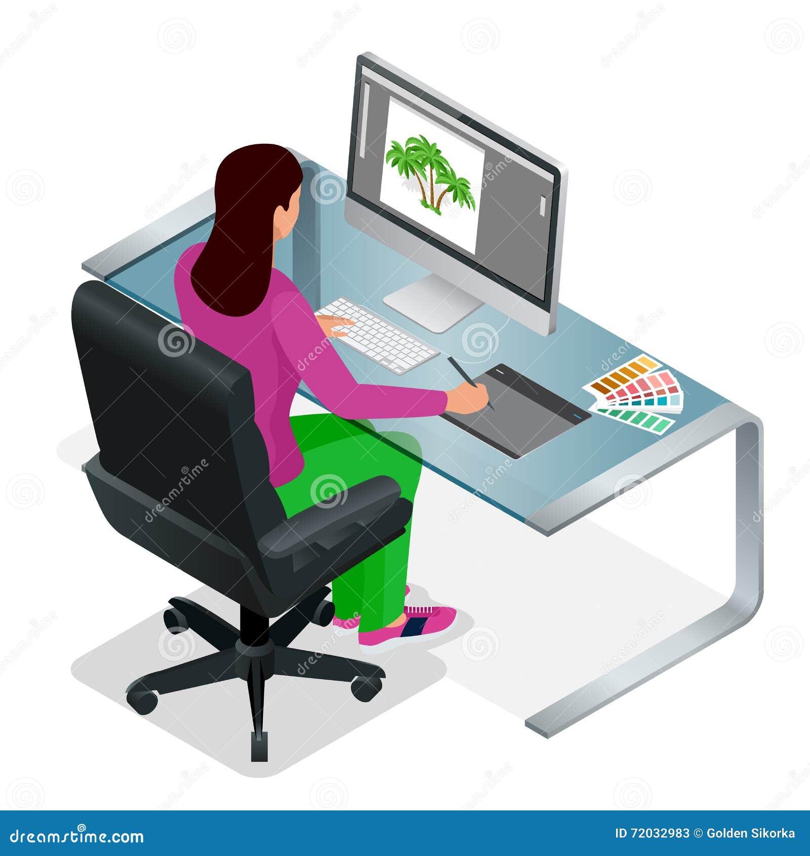 Grafisk formgivare eller konstnär på arbete Dra något på den grafiska minnestavlan på kontoret