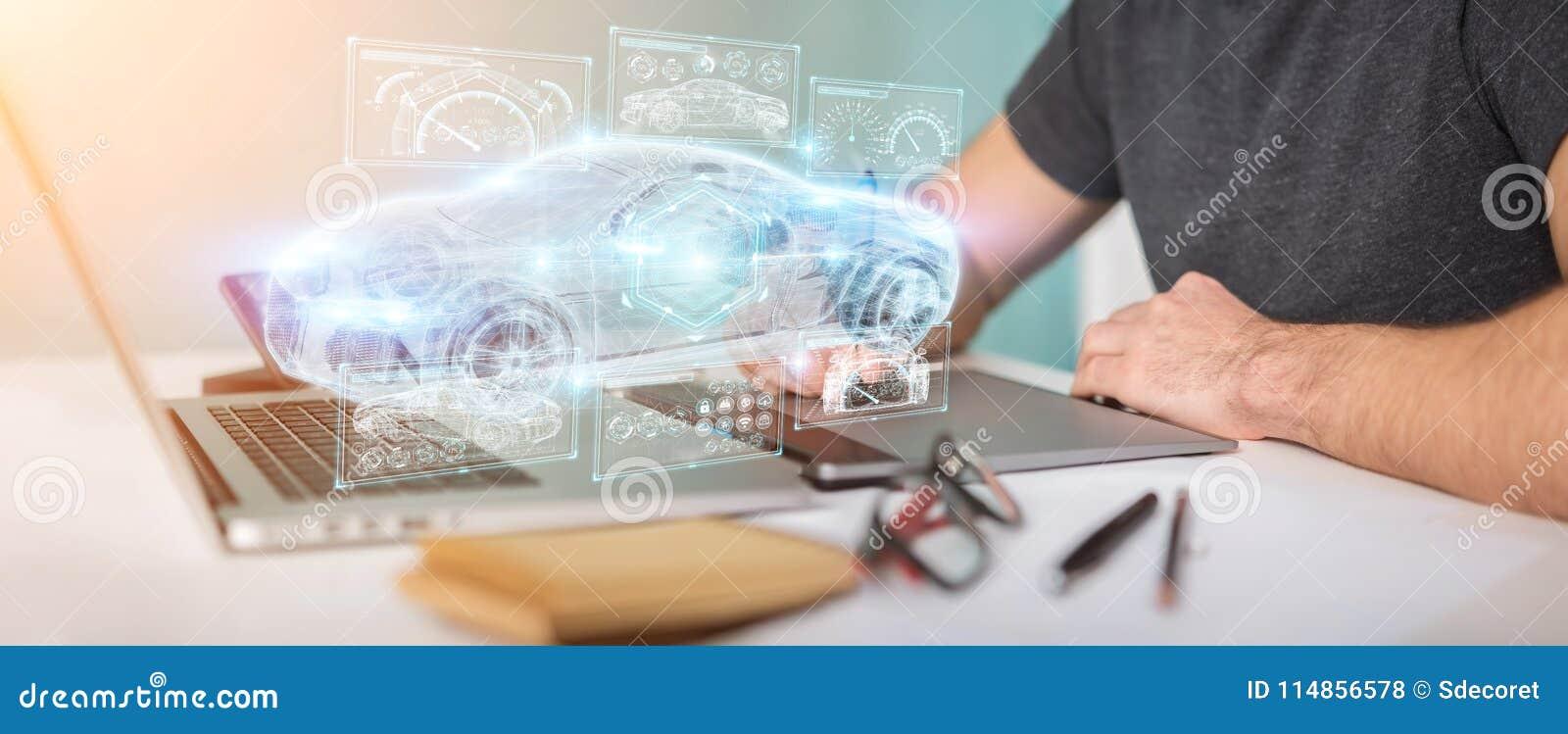 Grafisk formgivare som använder den moderna smarta tolkningen för bilmanöverenhet 3D