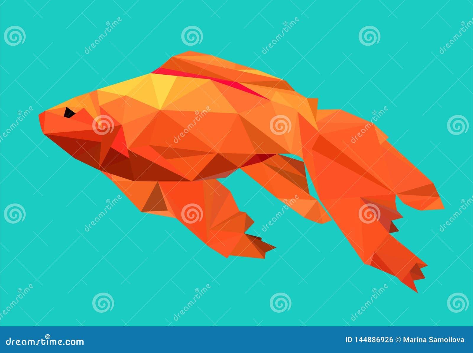 Grafisk guldfisk på blå bakgrund