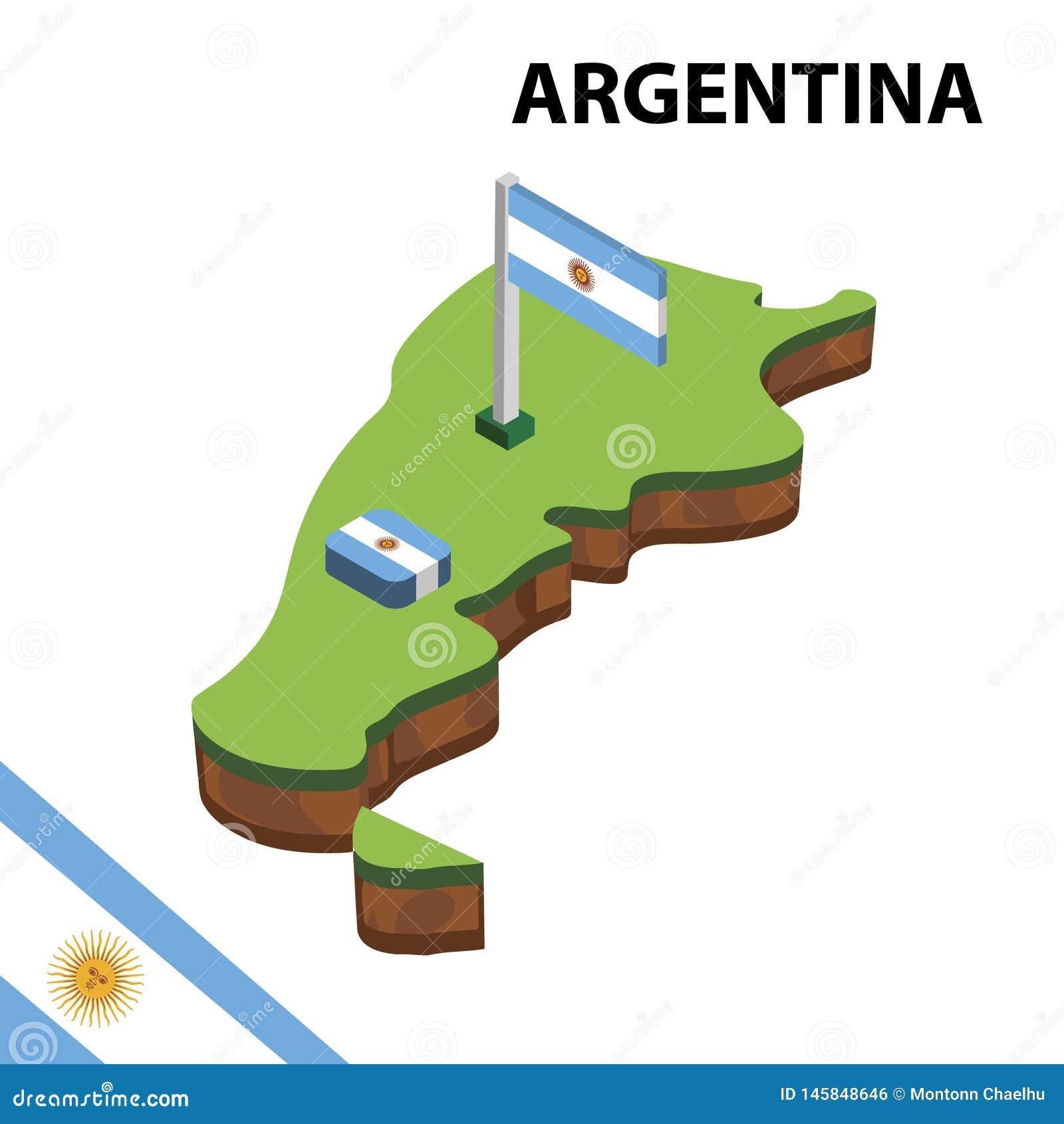 Grafisk isometrisk översikt för information och flagga av Argentina isometrisk illustration f?r vektor 3d