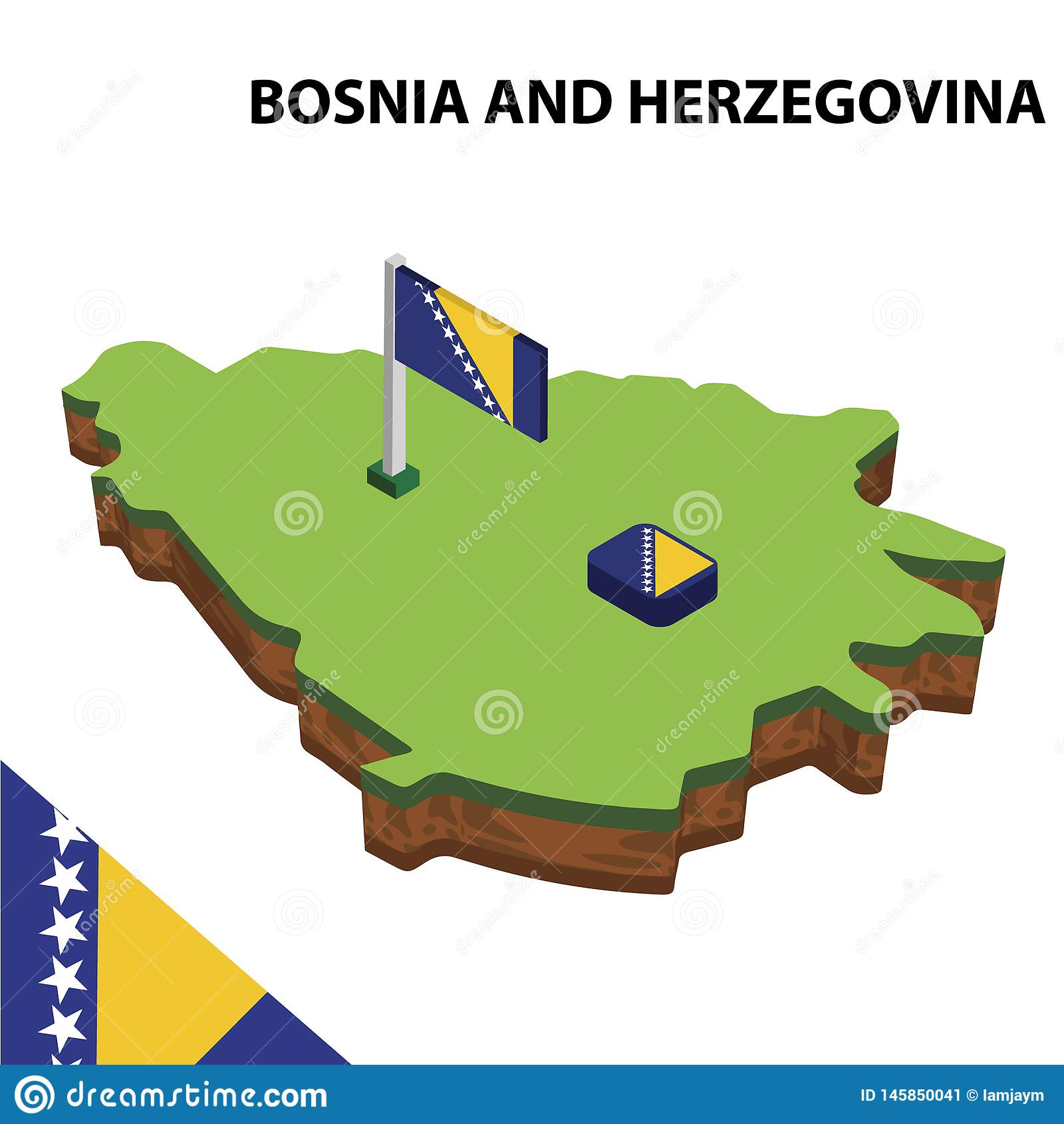 Grafisk isometrisk översikt för information och flagga av BOSNIEN OCH HERCEGOVINA isometrisk illustration f?r vektor 3d