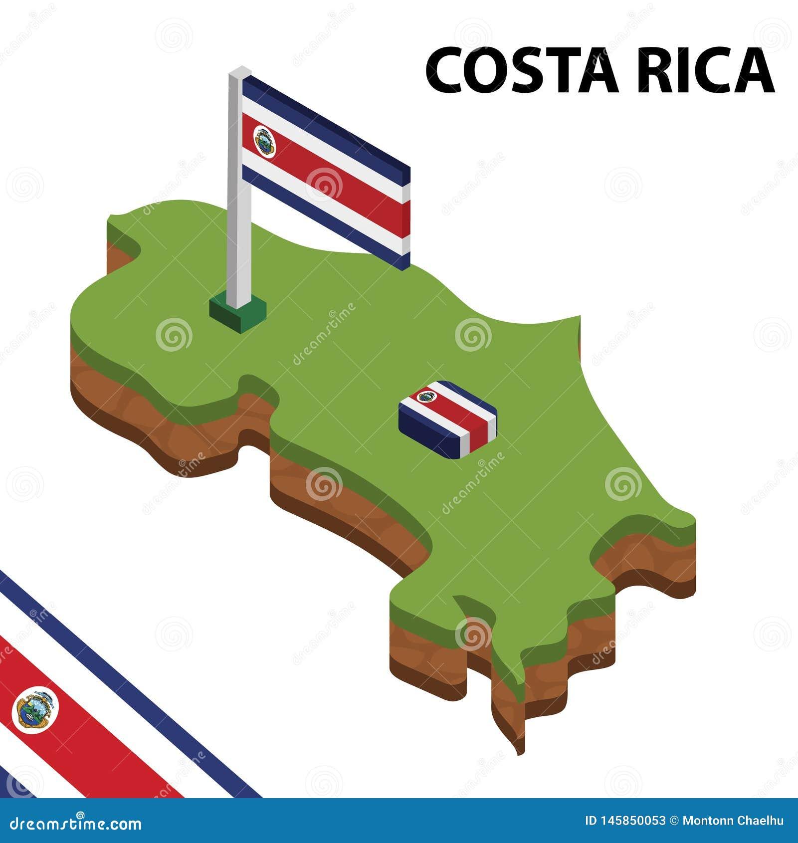 Grafisk isometrisk översikt för information och flagga av COSTA RICA isometrisk illustration f?r vektor 3d