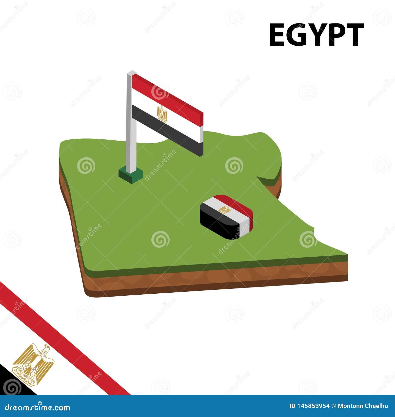 Grafisk isometrisk översikt för information och flagga av EGYPTEN isometrisk illustration f?r vektor 3d