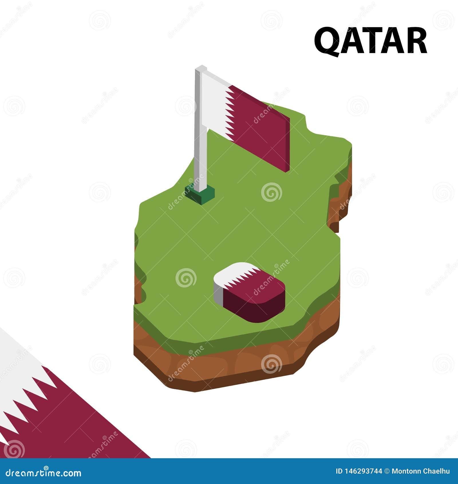 Grafisk isometrisk översikt för information och flagga av QATAR isometrisk illustration f?r vektor 3d
