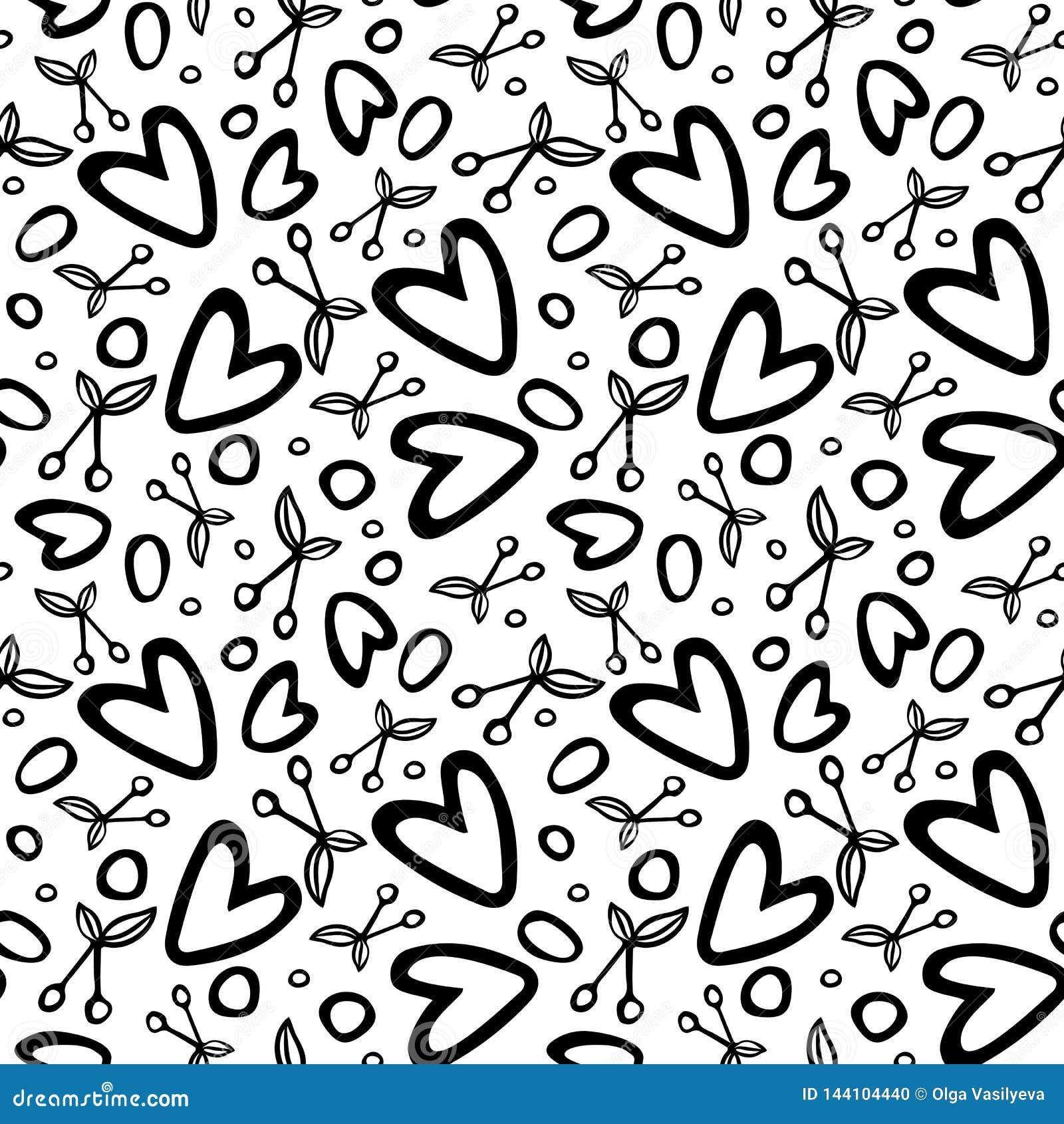 Grafisk sömlös modell med romantiska beståndsdelar för körsbär och för hjärta på vit bakgrund