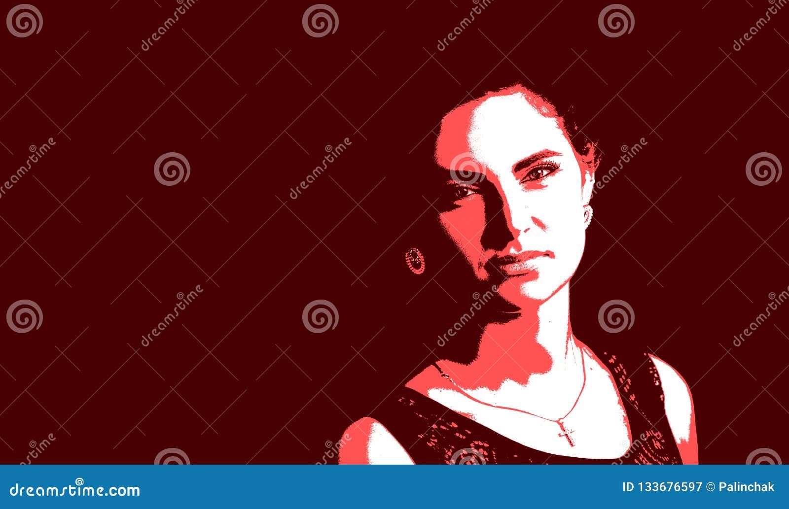 Grafisk stående av en ung härlig kvinna