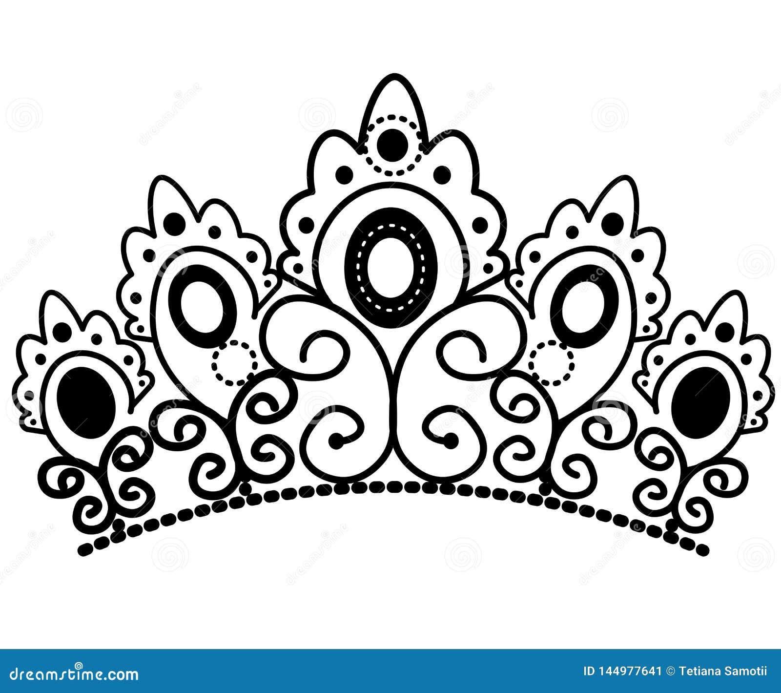 Grafisk svartvit krona med den kungliga lilja- och diamantvektorn