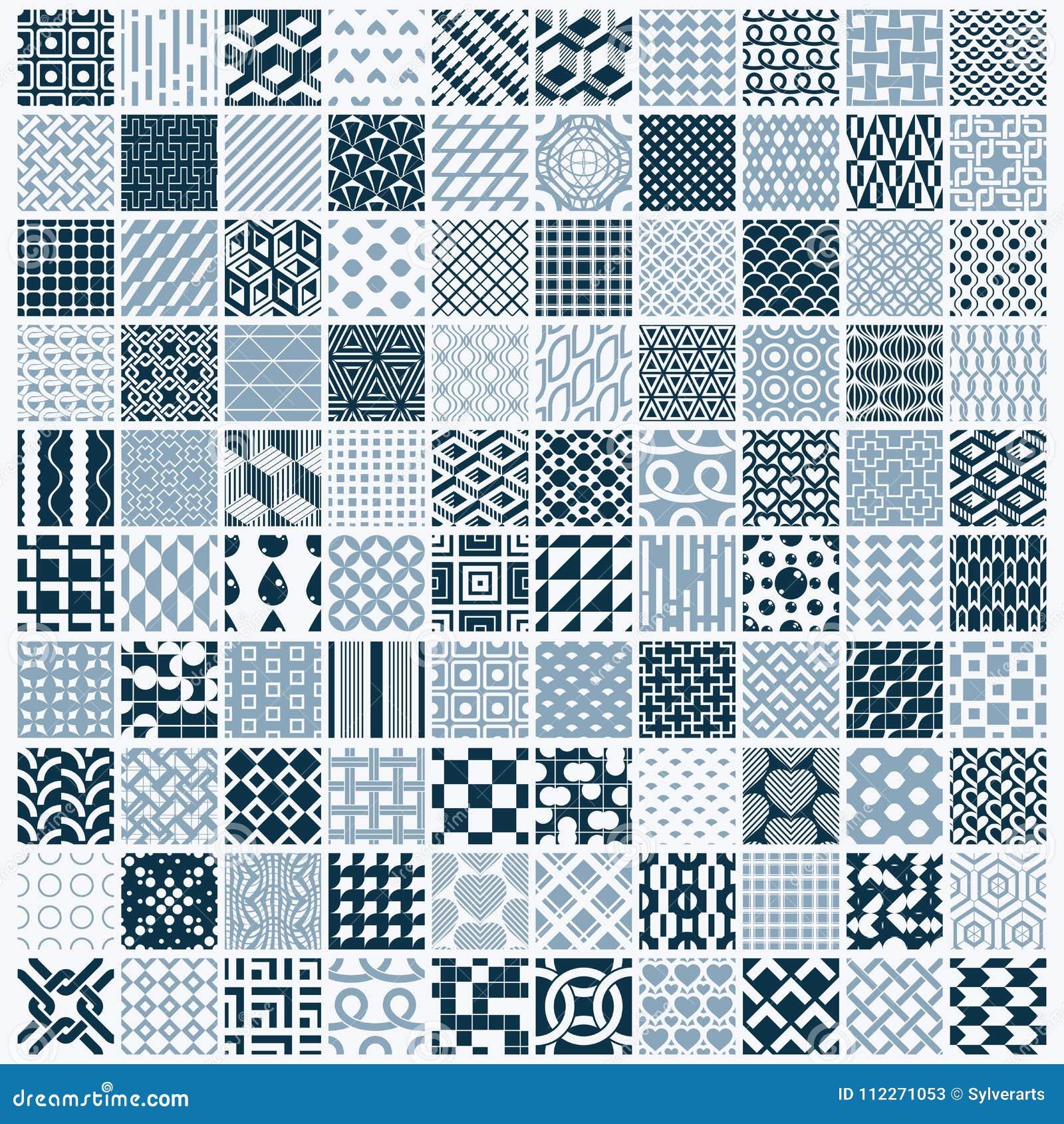 Grafiska dekorativa tegelplattor samling, beträffande uppsättning av den monokromma vektorn