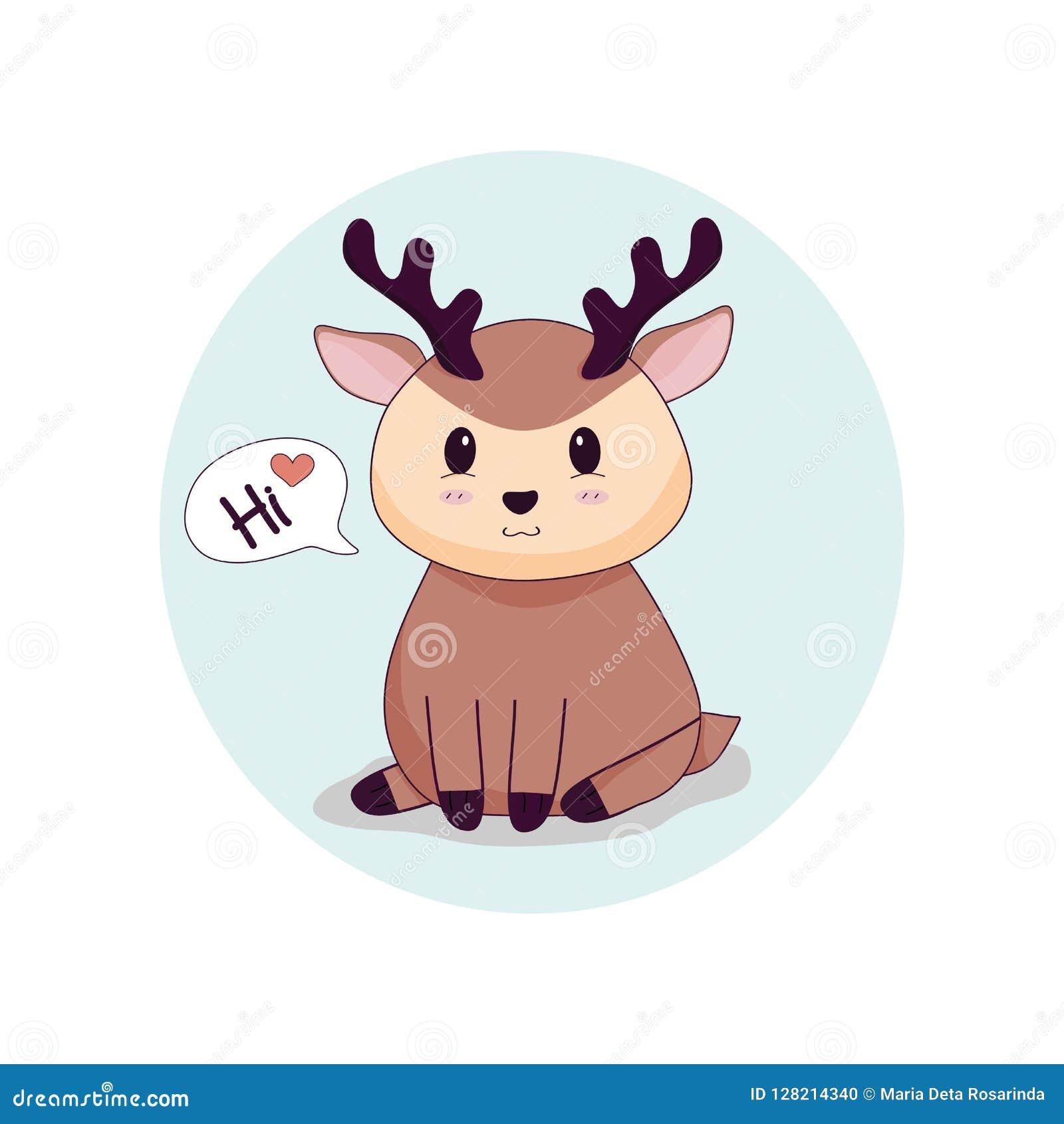 Grafiska gulliga hjortar säger högt med förälskelse