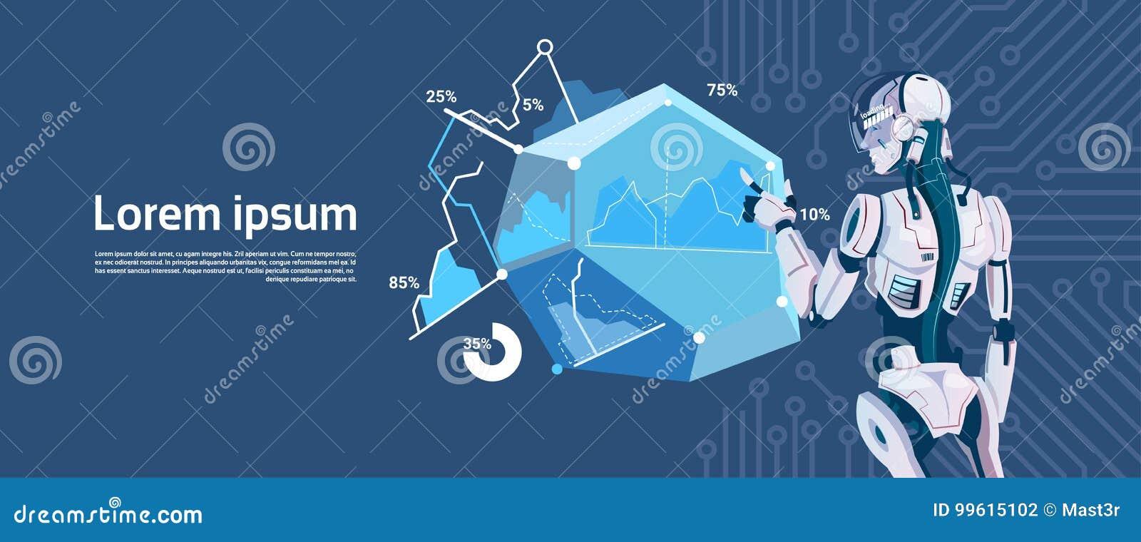Grafiskt diagram för modern robothållpäfyllning, futuristisk mekanismteknologi för konstgjord intelligens
