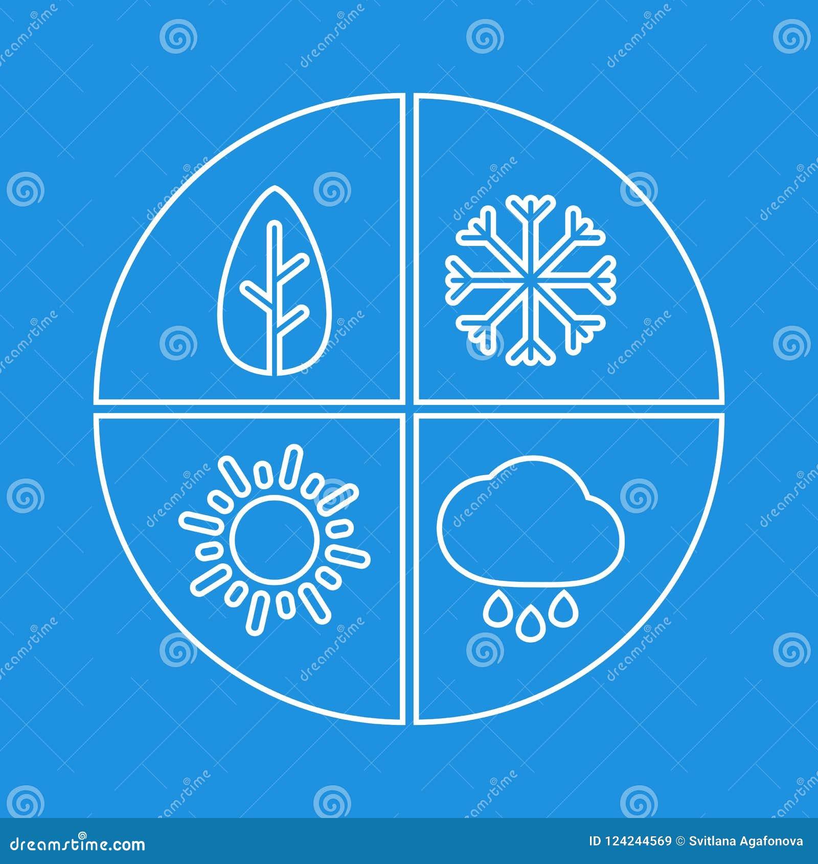 Grafiskt enkelt tecken för fyra säsonger För vektorsymbol för vit plan isloate