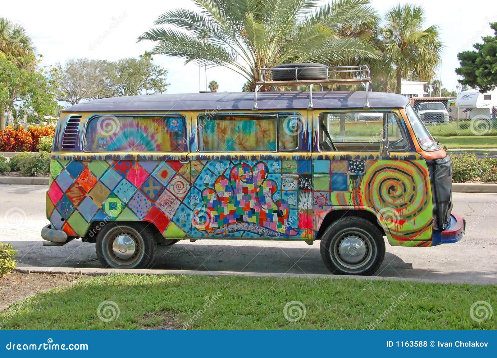 Grafitti hippie skåpbil volkwagen